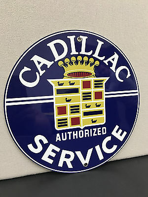 Cadillac service garage sign man cave advertising  round