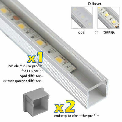 1M Meter LED PROFILE LINE 5050 5630 3528 LED Strip Light Aluminium + 2 End Caps