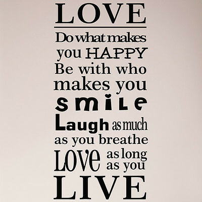 LIVE LAUGH LOVE Smile Quote Vinyl Wall Decal Sticker ArtWords Home Interesting Smile Laugh Love Quotes