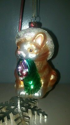 Orange Kitten Ornament Glass