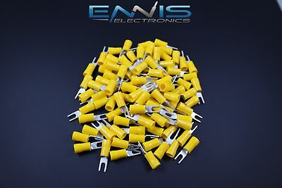 10-12 Gauge Vinyl Spade # 6 Yellow 50 Pk Crimp Terminal Connector Awg Ga Car