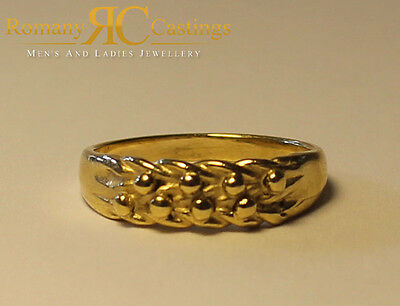 Very Rare Baby's 9ct Solid Yellow Gold Three Row Keeper Ring 1 grams Any Size