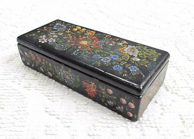 Shabby Vintage Antique Hand Painted Flowers Black Wood Document Jewelry Box