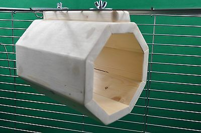 Hanging Octagonal Play Tunnel Hide chinchilla, rat, degu, guinea pig cage -Pine