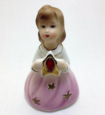 Vintage Girl Figurine with Stars on Her Dress Holding Plaque with July Stone