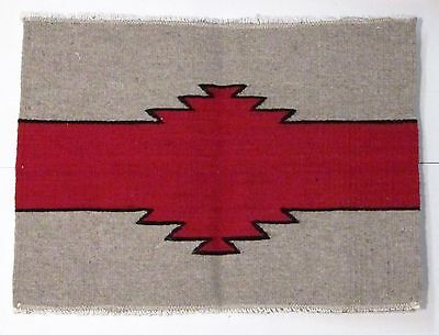 """Zapotec Indian Mexican  Rug Placemat 100% Wool  Hand Woven 22"""" X 17""""   Zpm005"""