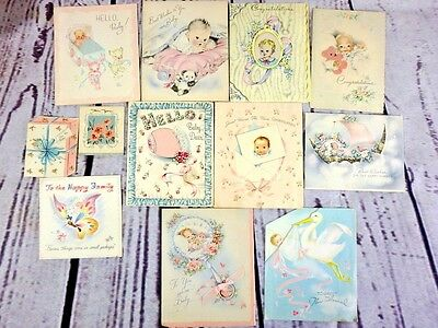 Lot of 12 USED 1940s Vtg Pastel Baby Birth Greeting Cards Scrapbook Crafting