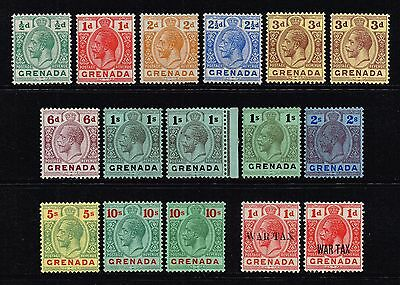 Grenada 1913-22 King George V set to 10s., MH (SG#89/101a)