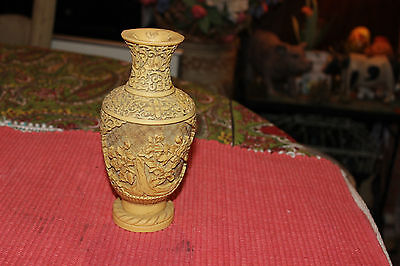 Japanese Chinese 3D Relief Carved Resin Vase-Relief Floral Patterns-Signed