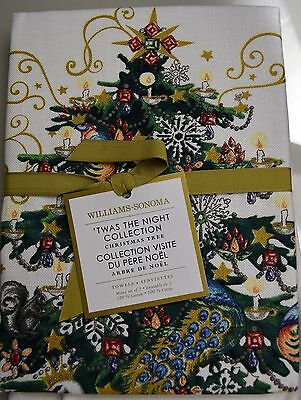 New Williams Sonoma HOLIDAY TWAS NIGHT BEFORE CHRISTMAS Kitchen TOWELS Set of 2