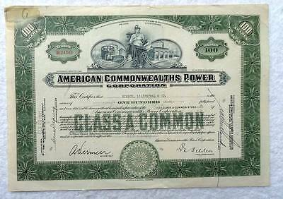 1932 Stock Certificate American Commonwealths Power Corporation #2M