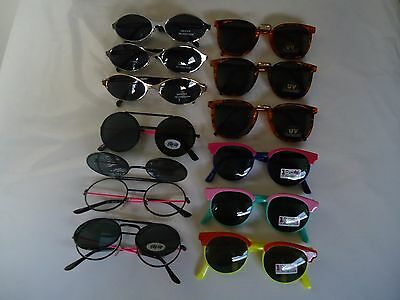12 pairs CHILDREN'S FASHION SUNGLASSES new 100% UV PROTECTION wholesale lot