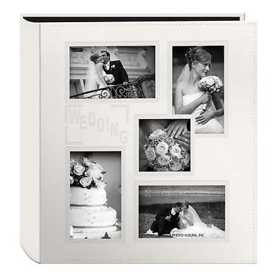 """Pioneer Collage Frame Embossed """"Wedding"""" Sewn Leatherette Cover Photo Album, Ivo"""