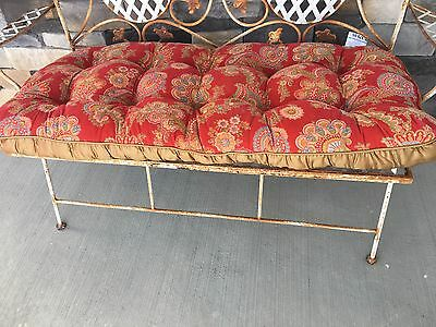 Bench Cushion Pier 1 Indoor Reversible Floral Paisley Button Tufted Retired
