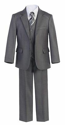 Boys Suit Wedding Graduation Formal Toddler Party Teen Kid Set Linen Gray Shirt
