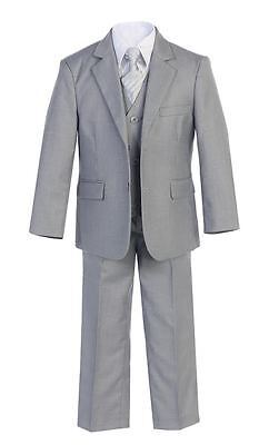 Boys Suit Wedding Graduation Formal Gray Toddler Party Teen Kid Set Tie Shirt S