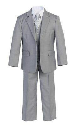 Boys Suits Gray Slim Fit Wedding Graduation Formal Toddler Party Teen Big Kids S