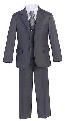 Boys Suits Charcoal Slim Fit Wedding Graduation Formal Toddler Party Big Kid New