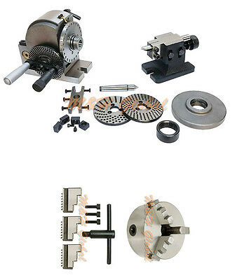 BS-0 Precision Dividing Head + 5'' 3 JAW CHUCK Semi Tailstock Plates Milling Set