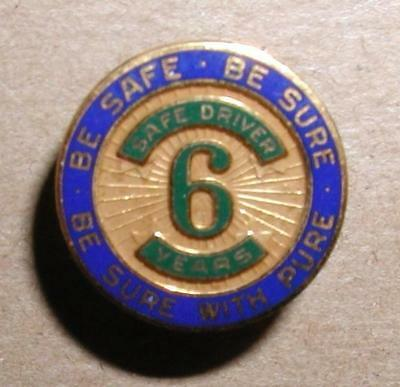 Vintage Pure Oil Safe Driving Award - 6 Year Lapel Pin - Screwback - Balfour Co