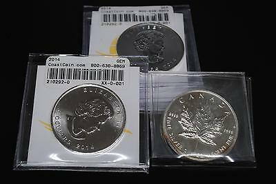 LOT OF 5: 1oz CANADA FINE SILVER MAPLE LEAF COINS (L18) 2004  2014