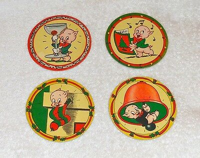 Porky Pig Coasters - Group Of 4! Late 40's! High Grade! Warner Brothers! Look!