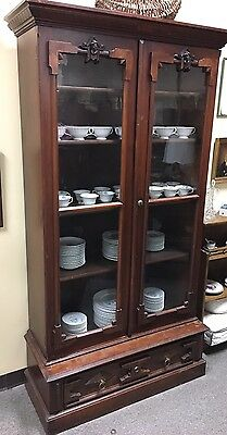 Victorian Walnut Bookcase With Carved Christopher Columbus Heads And Burl Veneer