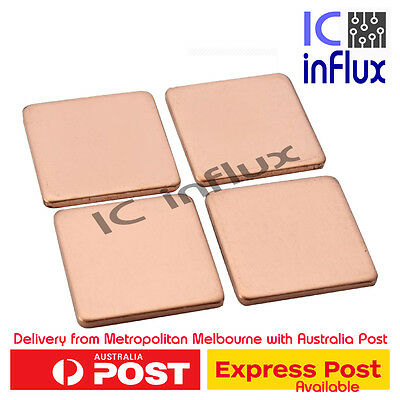 4pcs 15x15x0.8mm GPU CPU Thermal Heatsink Heat Sink Computer Laptop Copper Shim