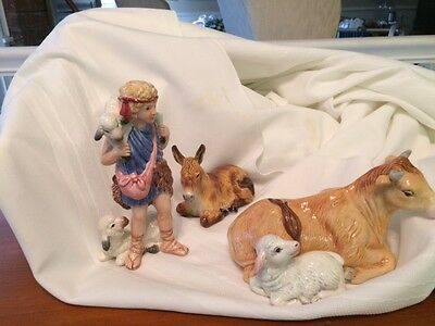 Fitz and Floyd Nativity figurines 3, shepherd,donkey, and ox and lamb