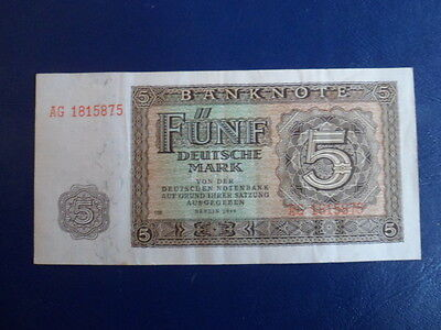1948 DDR/GDR East German 5 Mark Bank Note-VG+ Cond.17-22