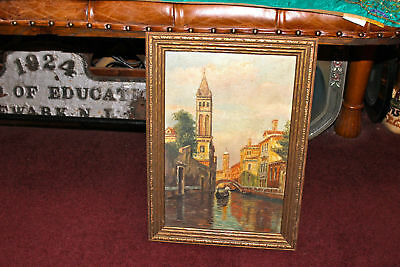 Antique Oil On Board Painting-Italy Gondola Waterway Buildings Framed-Detailed