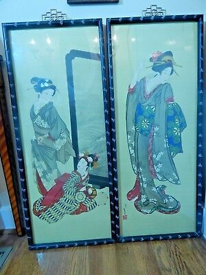"Pair of Asian Prints ""Japanese Ladies"" Nicely Framed 39""H"