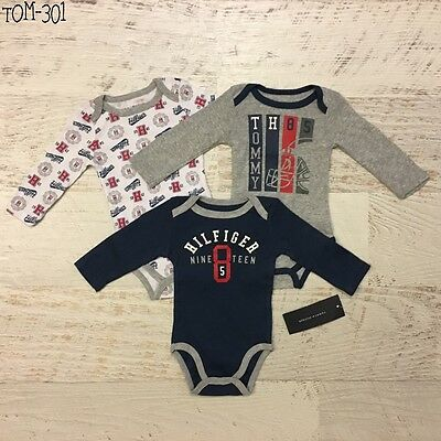 Tommy Hilfiger 0-3M/ 3-6M/ 6-9M Baby Girl Boy 3 Pieces Bodysuit Set