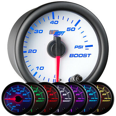 52mm GlowShift White Face Turbo Diesel Boost 60 PSI Gauge w. 7 Colors LEDs