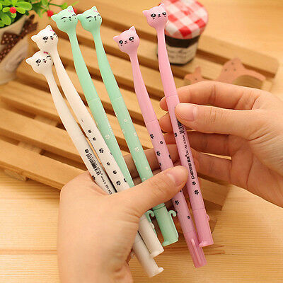 2× Kids Cute Cat Cartoon Gel Pen Ballpoint Pen Ink School Office Stationery Gift