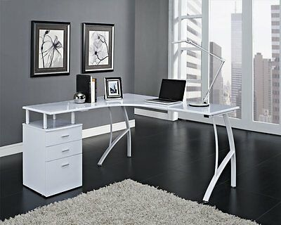 Corner Computer Desk in *White* Home Office PC Table with 3 Drawers L-Shaped AYA