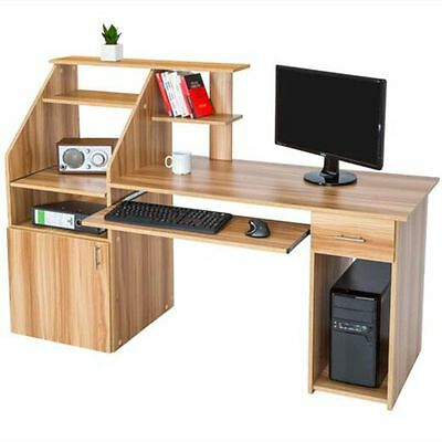 Wood Shelving Computer Desk Home Office Student PC Workstation Laptop Table
