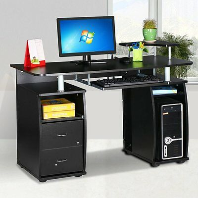 Black Computer Desk Cupboard & Shelves & Drawers Furniture Home Office PC Table