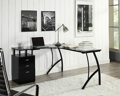 Black or White Corner Computer Desk Home Office PC Table with 3 Drawers L-Shaped