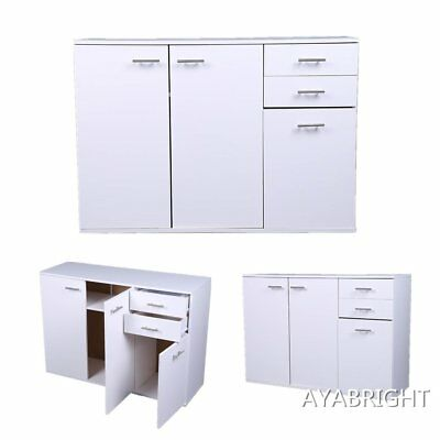Cabinet Sideboard Cupboard Buffet Solo High Gloss Chest 3 Doors 2 Drawers White