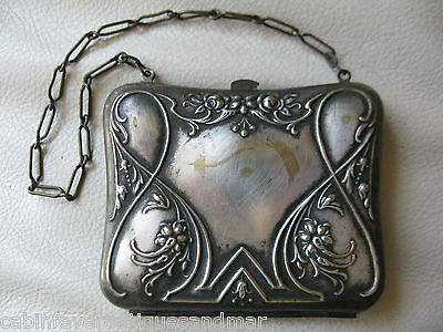 Antique Victorian Art Nouveau Silver Travel Sewing Needle Card Case Coin Purse