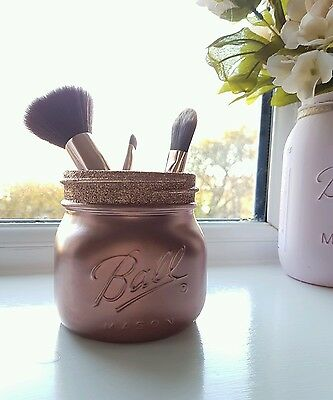 Painted Rose Gold Mason Jar - Perfect for Home Decor