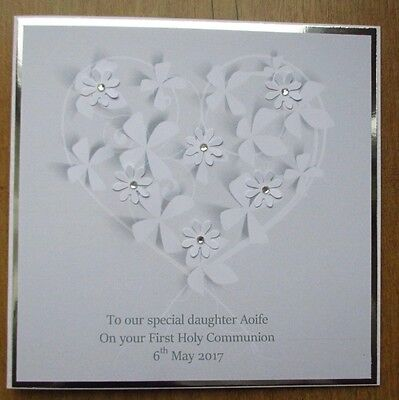 Personalised Handmade White Flower Heart First Holy Communion Card Daughter
