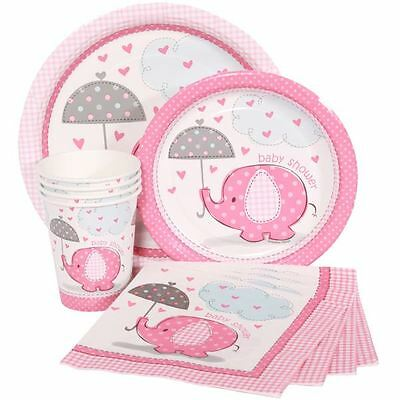 Pink Umbrellaphants Girl Baby Shower Party Tableware Decorations Games Banners