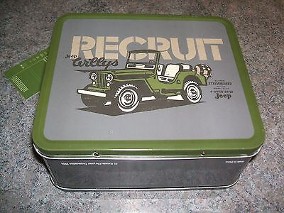 LUNCH BOX metal JP207 army green JEEP WILLYS Daimly Chrysler Corporation RARE