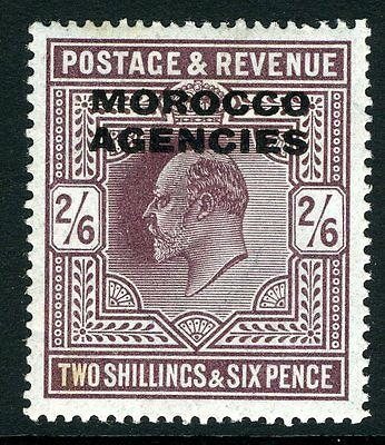 MOROCCO AGENCIES-1913 2/6 Dull Reddish Purple.  A mounted mint example Sg 41