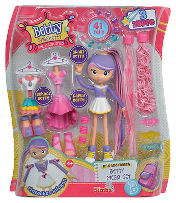 Simba Betty Spaghetty Mega Set 41 Teile mix and match Kinder Spielzeug Puppe