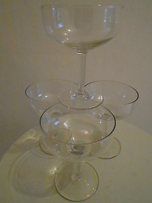 Set Of Four Retro Champagne Saucers