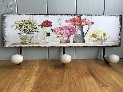 Pretty Shabby French Chic  Hooks Plaque / Sign Wall Mounted Floral