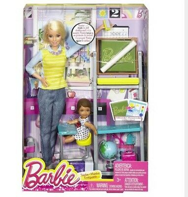 Careers Barbie Teacher Doll Complete School Play Set With Chalkboard  - New